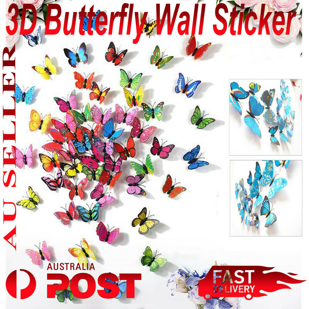 Home Decoration - 12 Pcs 3D Butterfly Wall Decal Removable Sticker Kids Nursery Decoration Magnet