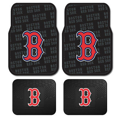 New Set Mlb Boston Red Sox Car Truck Front   Back All Weather Rubber Floor Mats