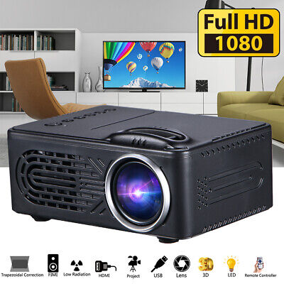 1080P HD Mini Portable LED Projector 3D Home Theater Cinema Video HDMI USB AV SD