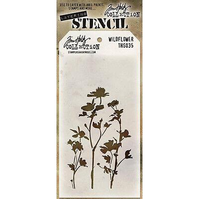 """Scrapbooking Crafts Tim Holtz Layered Stencil Wildflower 4.125"""" X 8.5"""""""