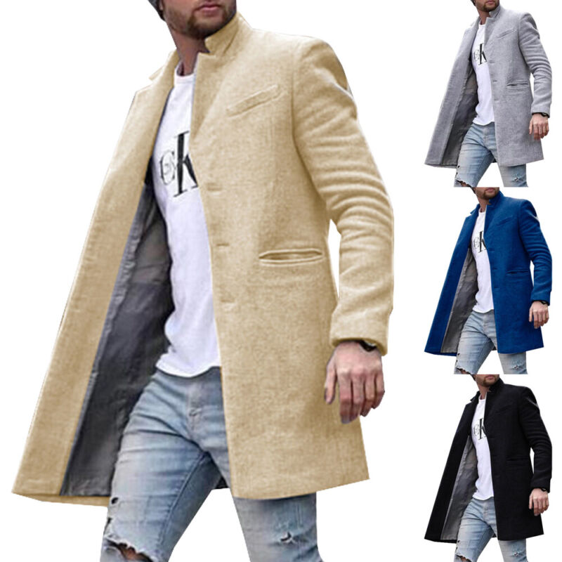 Men Lapel Trench Coat Long Sleeve Overcoat Casual Warm Outwear Casual Jacket Top Clothing, Shoes & Accessories