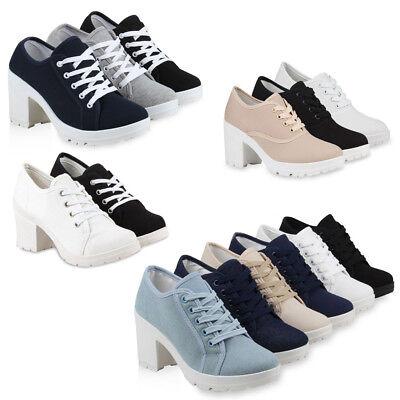 Damen Pumps Profilsohle Schnürpumps Chunky Heels 75226 Schuhe Schuhe Chunky Heel