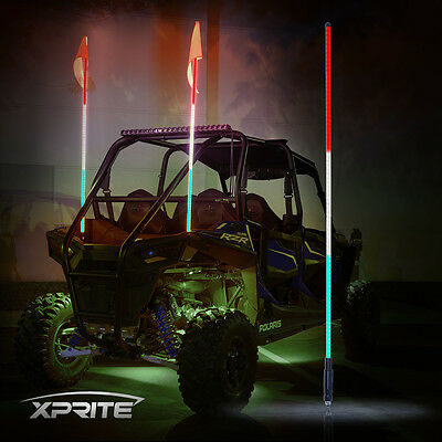 XPRITE 5FT RED WHITE GREEN LED Whip Light and flag for RZR ATV UTV JEEP Off-Road