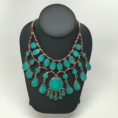 3 Layers Afghan Turkmen Tribal Green Turquoise Inlay Teardrop ATS Necklace 19""