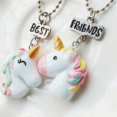 2Pcs/Set Best Friend Unicorn Necklaces for Children Girls Jewelry Birthday