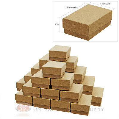 25 Kraft Cotton Filled Gift Boxes 2 58 X 1 12 Jewelry Charm Pendant Box