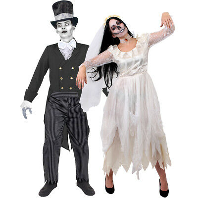 COUPLES WHITE CORPSE BRIDE AND GHOST GROOM HALLOWEEN FANCY DRESS COSTUME SUIT