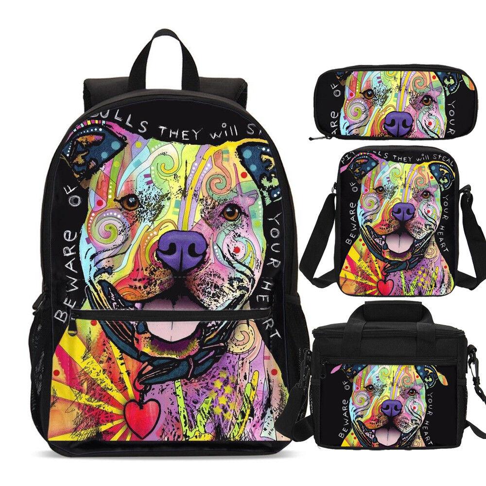 Galaxy Pug Boys Canvas School Backpack Laptop Rucksack Crossbody Bag Pencil Case