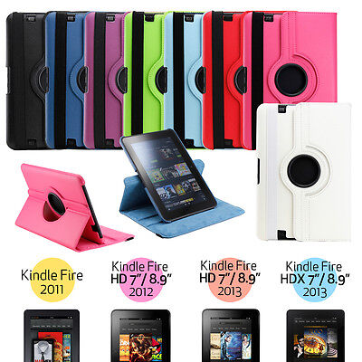 360 Rotating PU Leather Case Cover w Stand For Amazon Kindle Fire HD 7 8.9 HDX