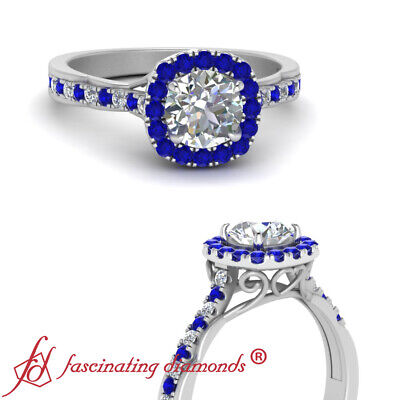 .75 Carat Round Cut Diamond And Sapphire Gemstone Vintage Halo Engagement Ring