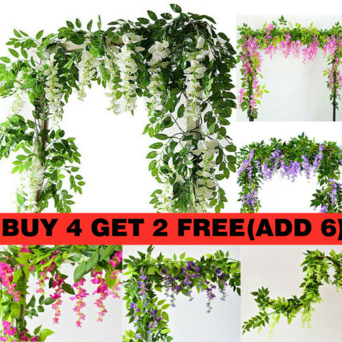 Home Decoration - 7FT Artificial Wisteria Vine Garland Plant Foliage Trailing Flowers Home Decor