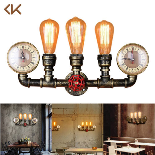 Industrial Water Pipe Wall Sconce 3-Light Steampunk Lighting