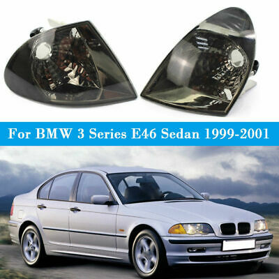 2x Euro Crystal Smoke Corner Signal Lights Lamp For BMW 3 Series E46 Sedan 99-01