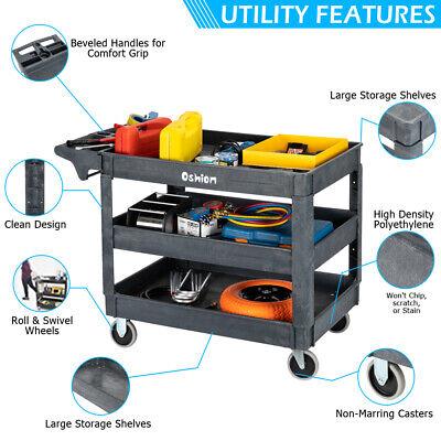 3 Shelf Plastic Utility Service Cart Heavy Duty Shelves Industrial Handcart Push