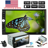 "7"" Double 2DIN Car MP5 MP3 Player Bluetooth Touch Screen Stereo Radio HD  Camera"