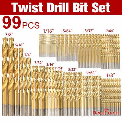 Drillforce 99pcs Drill Bit Set 116-38 Hss Titanium Multi Bits Metal Tools