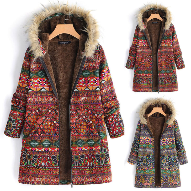 Womens Winter Fur Outwear Floral Print Hooded Pockets Vintage Oversize Coats