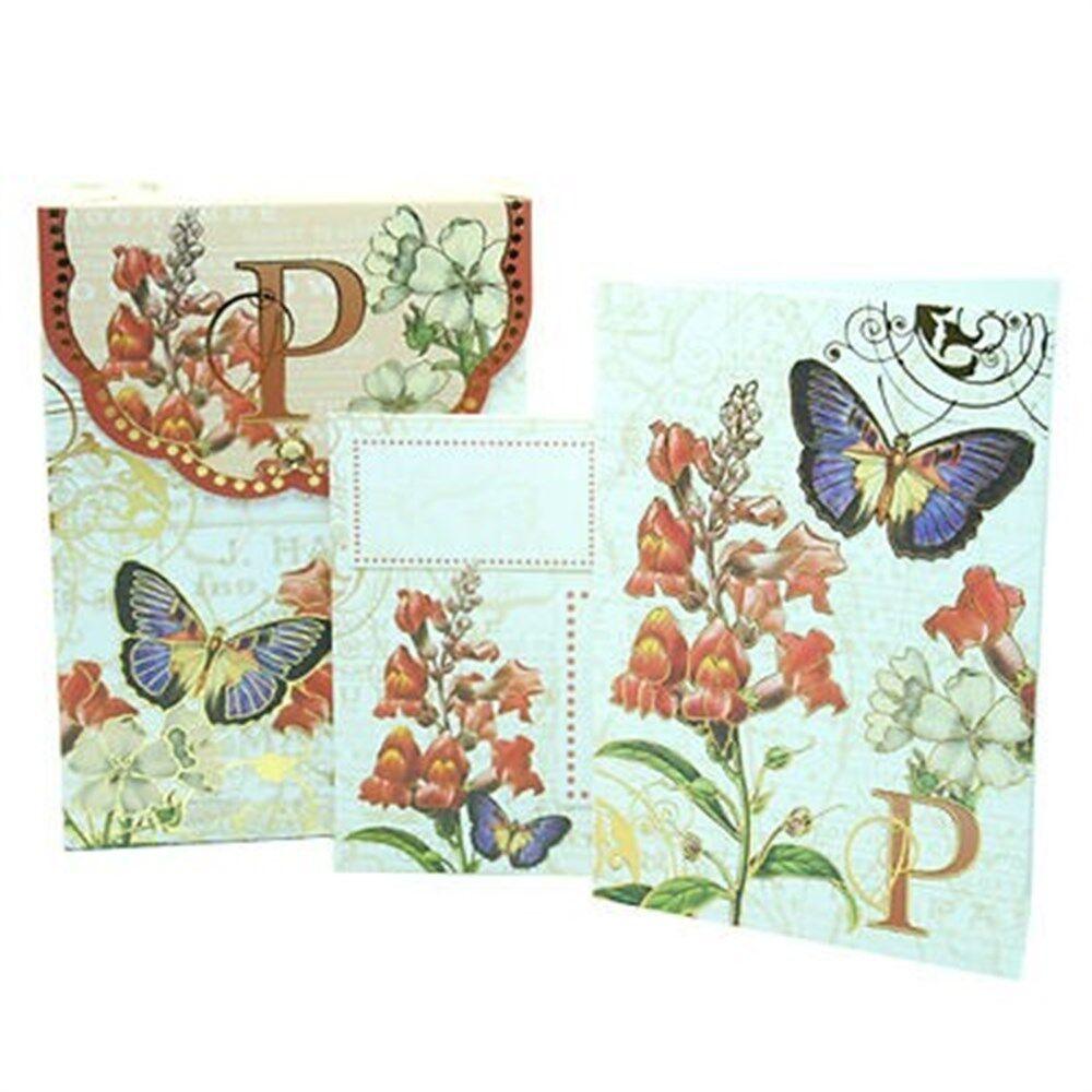 K PUNCH STUDIO FLORAL MONOGRAM POUCH NOTE CARDS #56976K