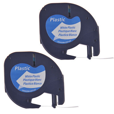 2pk Compatible For Dymo Letratag Lt 91331 Black On White Plastic Label Tape 12mm