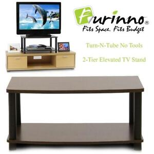New Furinno Turn-N-Tube No Tools 2-Tier Elevated TV Stand, Dark Brown/Black Condition: New