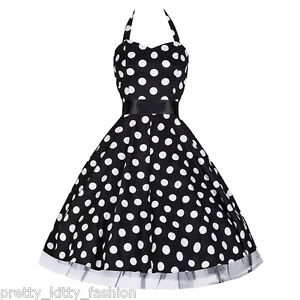 PRETTY-KITTY-ROCKABILLY-50s-BLACK-POLKA-DOT-SWING-COCKTAIL-PROM-DRESS-8-26-PLUS