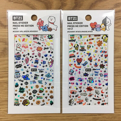 BTS BT21 Official Authentic Goods Nail Sticker Press Me Edtion 2SET + Tracking #