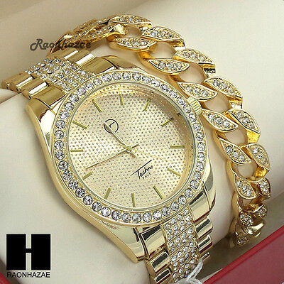 HIP HOP ICED OUT LUXURY GOLD FINISHED LAB DIAMOND WATCH CUBAN BRACELET A7794G