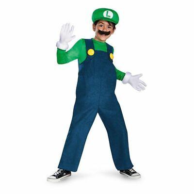 Nintendo Super Mario Brothers Luigi Deluxe Child Costume Small 4-6 NEW