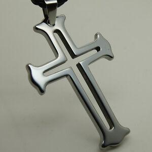 cool design big cross men/boy scratch proof  tungsten pendant necklace 25.3g
