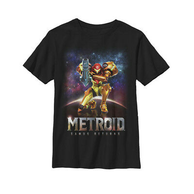 Nintendo Metroid Samus Returns Cover Art Boys Graphic T Shirt Boys Short Sleeved Cover