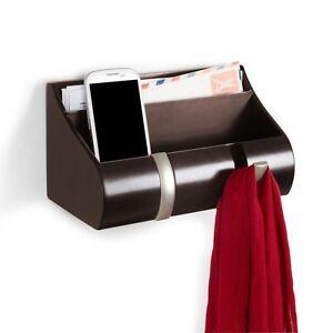 umbra espresso wall mounted cubby organiser shelf coat hooks key holder ebay. Black Bedroom Furniture Sets. Home Design Ideas