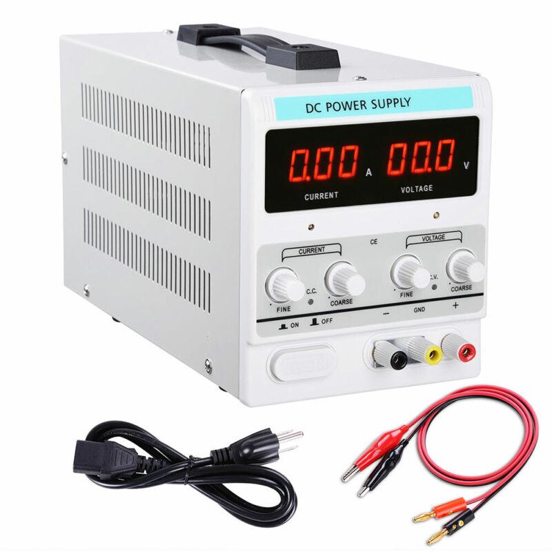 Adjustable Power Supply 30V 5A 110V Precision Variable DC Digital Lab w/clip