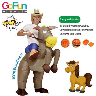 Aufblasbares COWBOY Kostüm FÜR ERWACHSENE Pferde KOSTÜM Batteriebetrieb NEU  ()