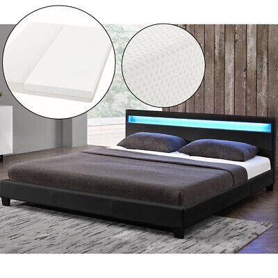 Polsterbett Doppelbett Kunstleder LED Bettgestell Matratze 140x200cm ArtLife®
