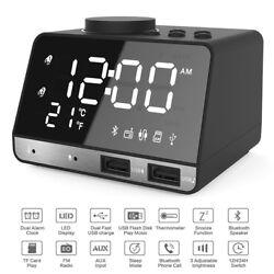 Wireless Bluetooth Speaker FM Radio Mirror LED Dual USB Charger Alarm Clock