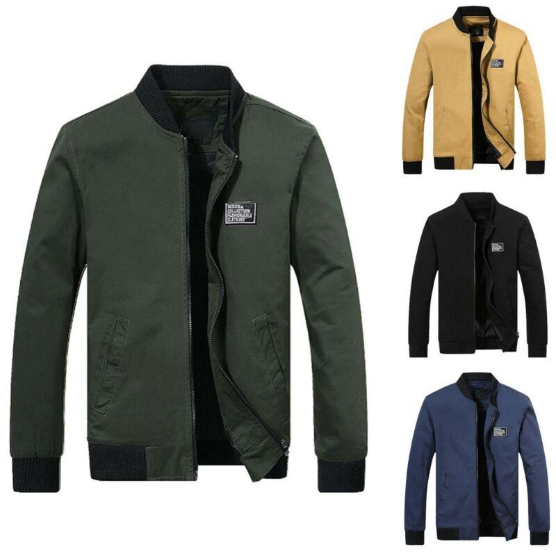 Men Winter Warm Jacket Overcoat Outwear Slim Long Trench Zip