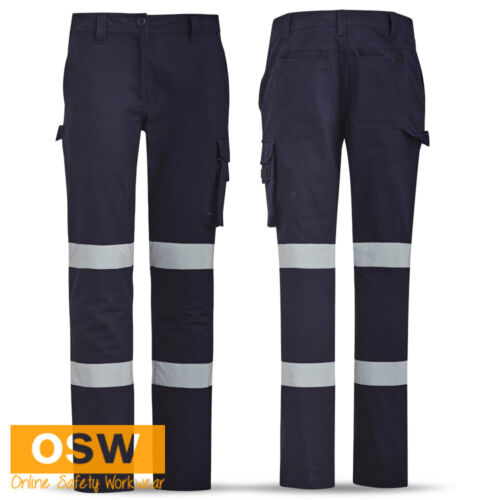 LADIES WOMENS NAVY COTTON DRILL BIOMOTION REFLECTIVE TAPED CARGO WORK PANTS