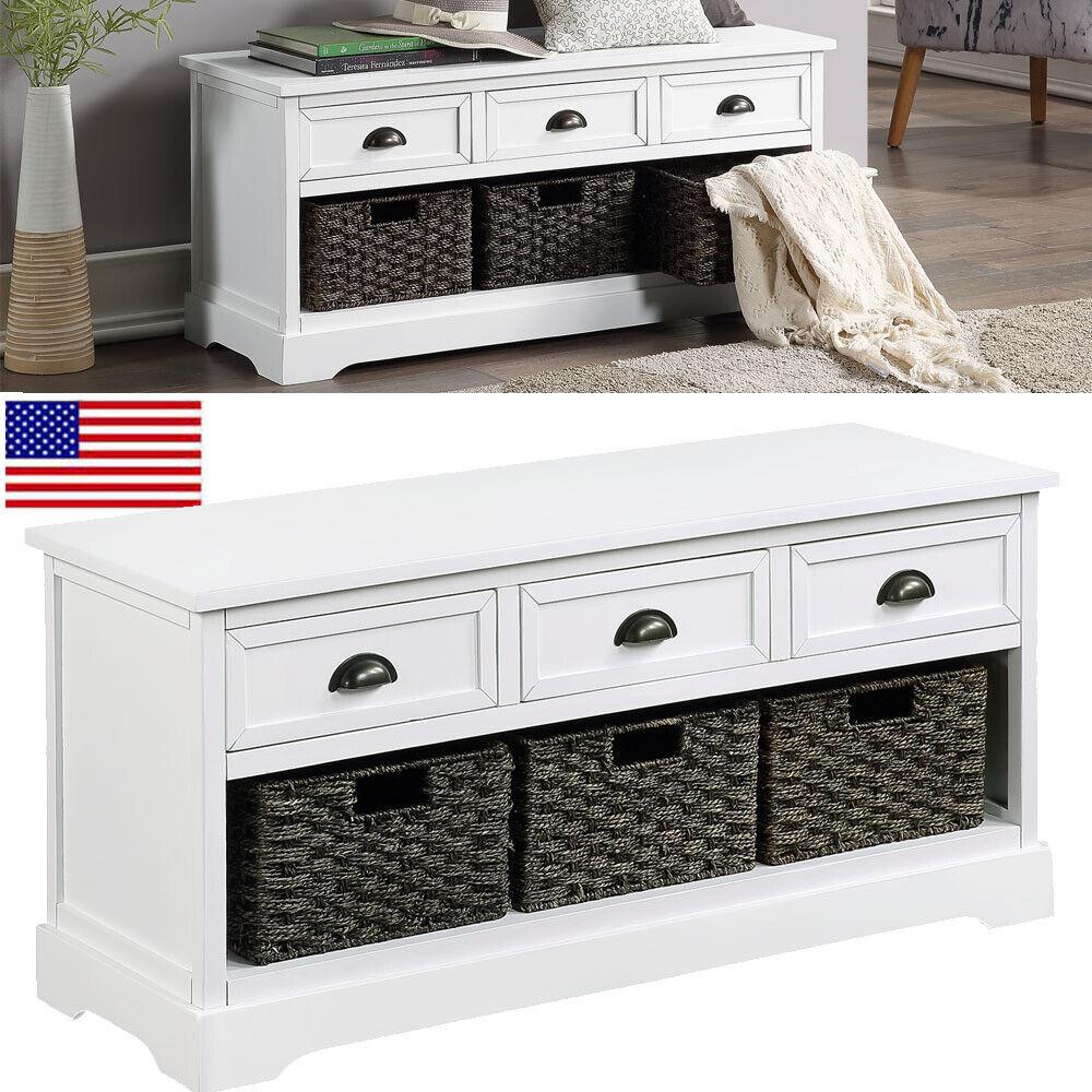 White Wooden Storage Bench Entryway Seat Mud Room Bedroom En