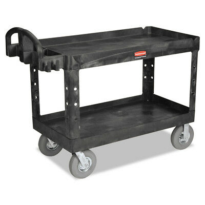 Rubbermaid Heavy-duty Utility Cart Two-shelf 26wx55dx33 14h Black 4546bla New