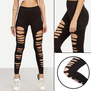 89cf65edd2dd8 Sexy Black Punk Ripped Torn Slashed Cut Striped Leggings Pants Gothic Club