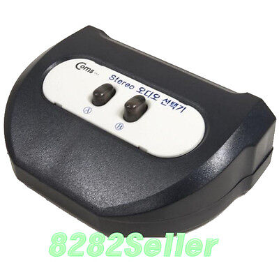 2 PORT 3.5mm STEREO Manual Sharing Switch AUX Audio Speaker selector way 2:1