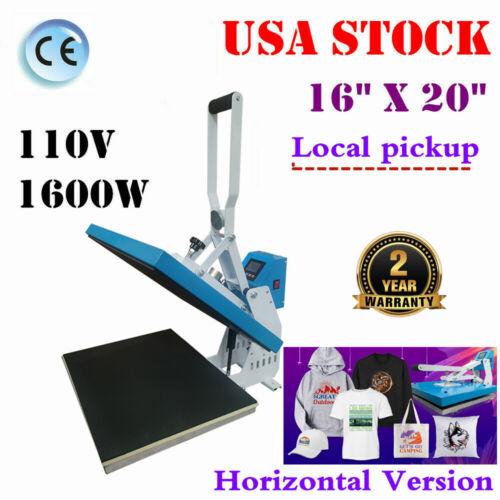 "USA 16"" x 20"" Clamshell Auto Open t Shirt Heat Press Machine Horizontal Version"
