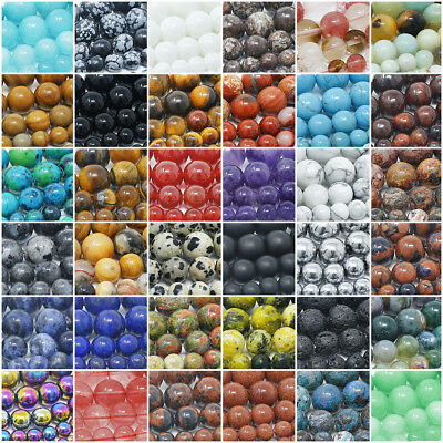 Circular Stone (Natural Gemstone Beads Round 4mm 6mm 8mm 10mm 12mm 15.5
