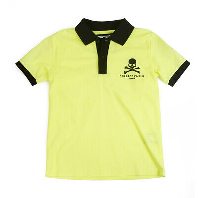 Philipp Plein Junior Yellow Black Polo Neckline Top Cotton for boys