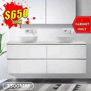 Bathroom Vanity 1500mm Wall Hung Cabinet Finger Pull 2 pack Mia *NEW*