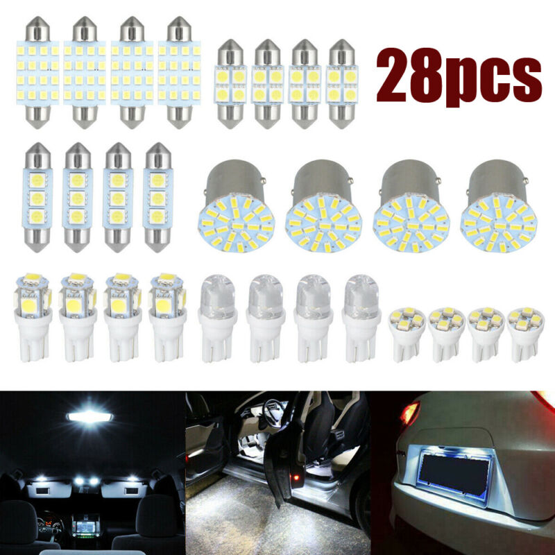 Car Parts - 28 x Car Interior LED Light Bulbs For Map Dome License Plate Lamp Kit Parts