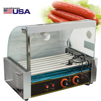 Commercial 18 Hot Dog Hotdog 7 Roller Grill Cooker Machine W Cover Tray Set Us