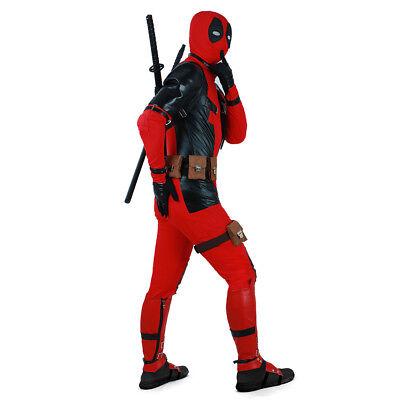 Dead Pool Suit (Deadpool Cosplay Costume Suit Hoodie+Belts Set Men Male Jumpsuit)