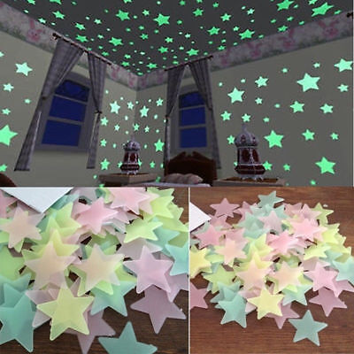 100PC Kids Bedroom Fluorescent Glow In The Dark Stars Wall Stickers - Star Stickers