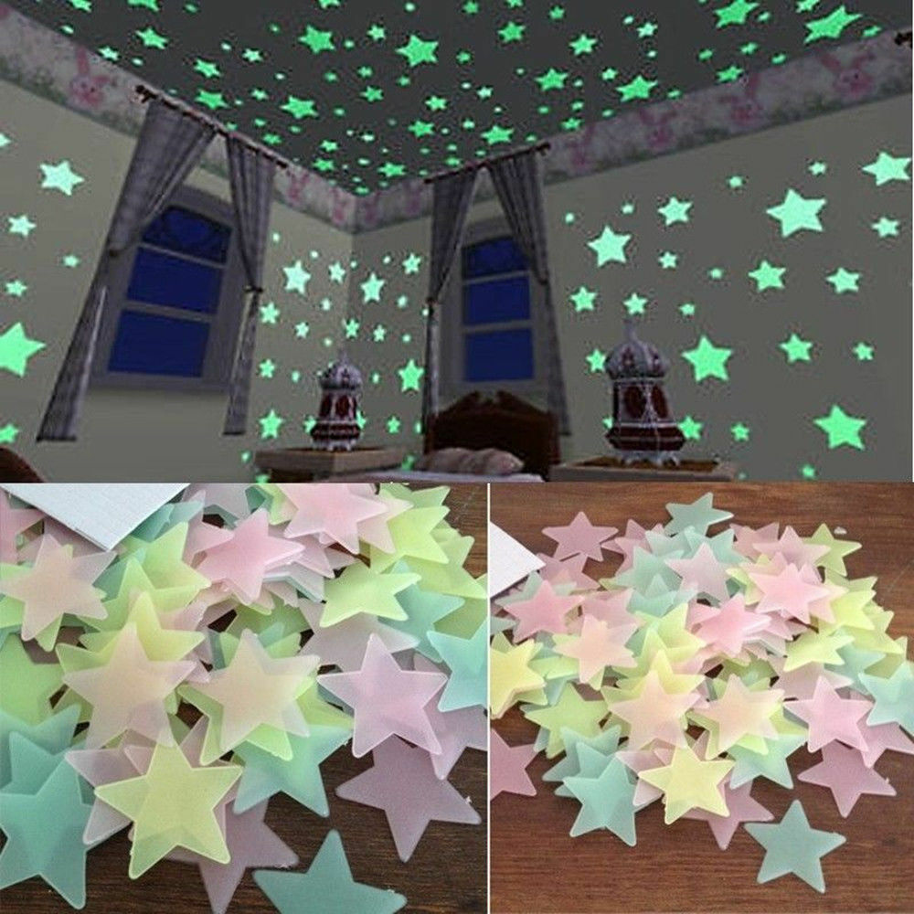Home Decoration - 100PC Kids Bedroom Fluorescent Glow In The Dark Stars Wall Stickers